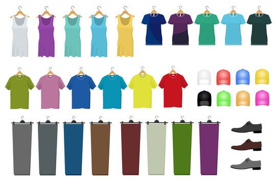 Set of male and female clothes hanging on a hanger. Flat style, illustration. Clothes and accessories fashion icons