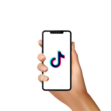 Tik Tok logo with realistic hand on white iphone screen. Editorial vector. Kyiv, Ukraine - January 13, 2019