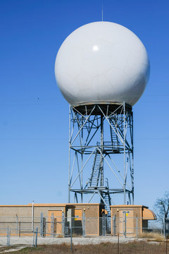 US NOAA weather radar radome cover mounted on support tower
