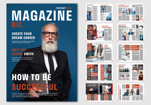 Business Magazine Layout with Red Accents
