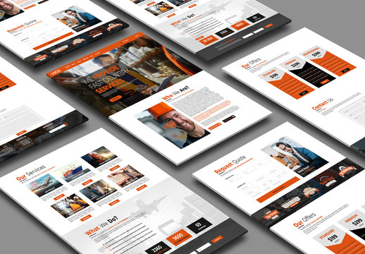 Website Layout with Orange Accents