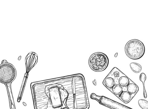 Home cooking bake still life sketch
