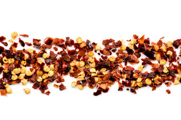 Red Hot Chili Pepper Flakes Border Isolated on White