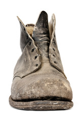 Old Worn Boot Isolated on White Front View