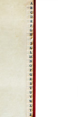 A to Z Index of Vintage Address Book Border over White