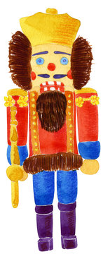 Hand drawn watercolor illustration of nutcracker doll, isolated on white background. Christmas toy.