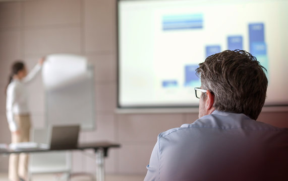 Businessman watching businesswoman leading meeting at flipchart in conference room