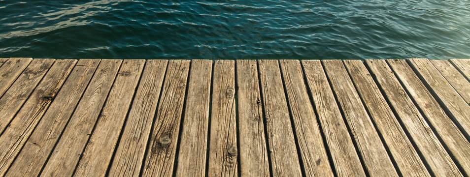 wooden deck texture simple background surface of European village rustic dock jetty on lake wavy waters environment, advertising concept picture with empty copy space for your text here