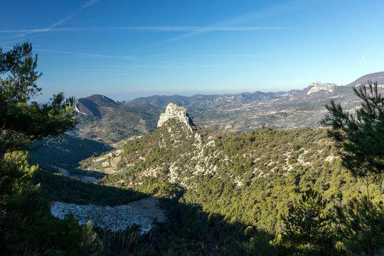 General view of Via Ferrata Rocher du Saint-Julien surrounded by mountains in southeastern France
