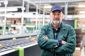 Portrait confident worker at conveyor belt in food processing plant