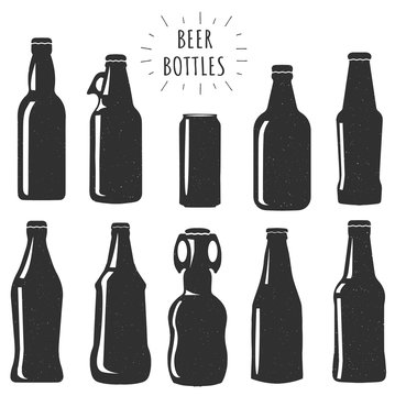 Beer bottles stencils collection