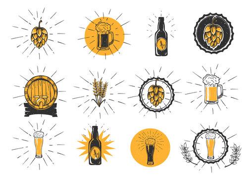 Beer making logo marketing set