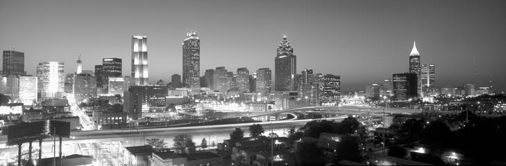 Atlanta Skyline at Dusk (After Olympics), grayscale, Georgia