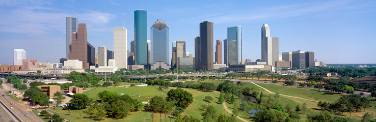Autocollant pour porte Texas Houston Skyline, Memorial Park, Texas