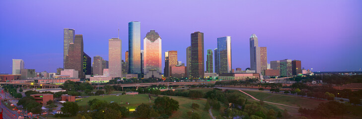 Photo sur cadre textile Texas Houston Skyline, Memorial Park, Dusk, Texas