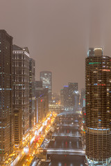 Wall Mural - Chicago on a Foggy Night - Wacker Drive