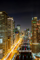 Canvas Print - Chicago at Night - Wacker Drive