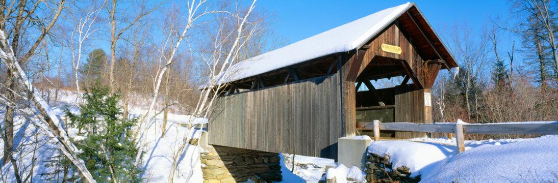 Covered Bridge, Stowe, Winter, Vermont