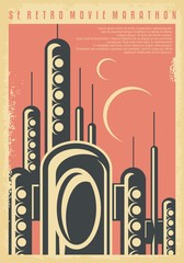 Science fiction movies festival retro poster template. Promotional flyer for cinema film fest with futuristic city scene on unknown planet. Vector sf image.