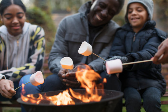 Grandfather and grandchildren roasting marshmallows at campfire