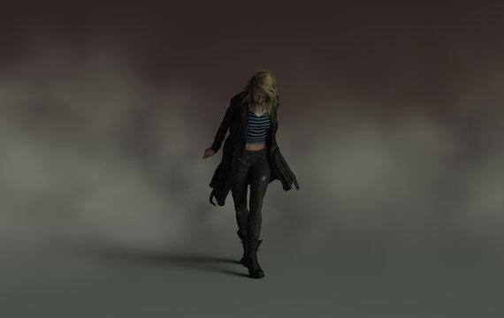 A sad depressed woman walks alone with head down