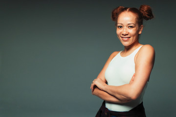 Portrait smiling, confident woman with freckles
