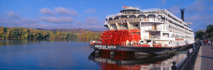American Queen paddlewheel ship on Mississippi River, Wisconsin