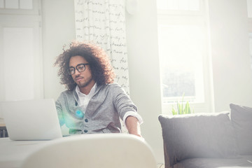 Young man working at laptop in sunny living room