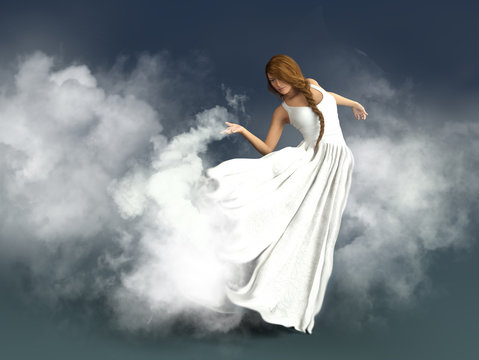 a mythological woman floating in the clouds