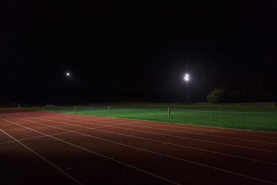 Dark sports track at night