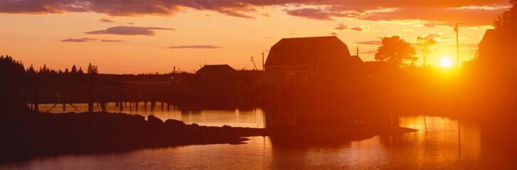 Garden Poster Brown Red sunset at Lobster Village, Stonington, Maine