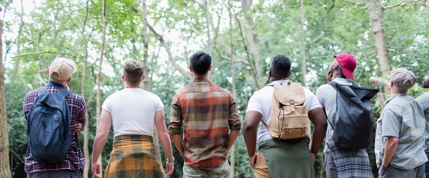Mens group hiking, standing in a row and bird watching in woods