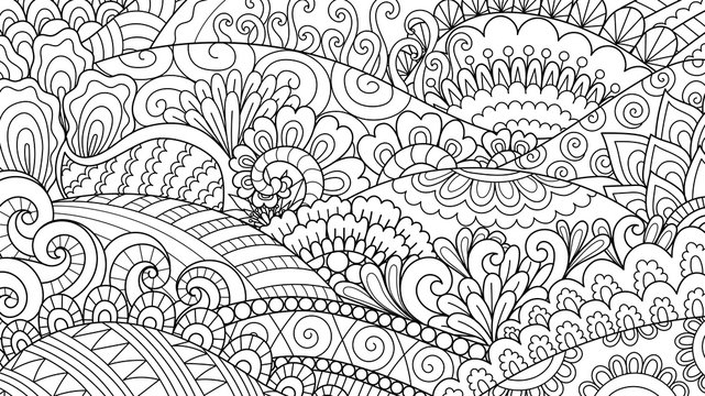 Hand drawn line art hill and abstract plant for background, coloring book and so on. Vector illustration