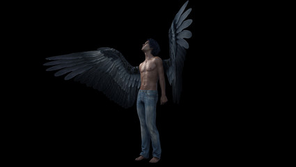 A black winged male angel looks upward