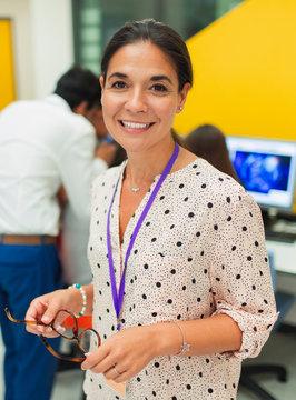 Portrait smiling, confident female teacher