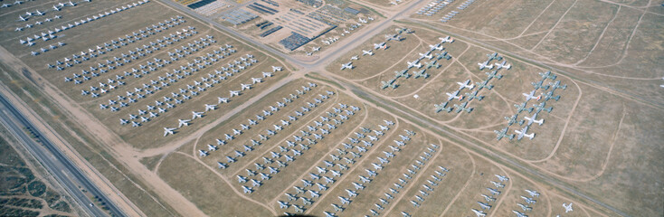 Aerial view of bone yard, F4 fighter aircraft at Montham AFB, Tucson, Arizona