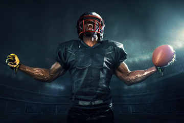 Muscular football player cheering
