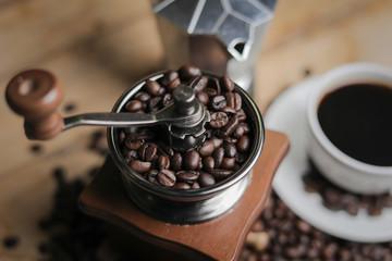 Foto op Textielframe Cafe Coffee grinder and manual coffee grinder.