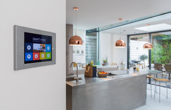 Smart home navigation system on wall in kitchen