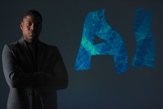 Double exposure portrait confident businessman and AI text