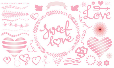 Valentine vector graphic set with heart, bird, divider, wreath,, flower, ribbon, ornament. Pink sweet love lettering, handwriting