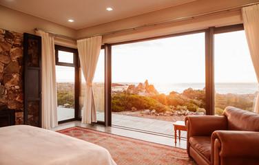 Home showcase bedroom open to ocean view