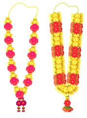 Indian flower garland mala for wedding ceremony. Traditional decoration for couple