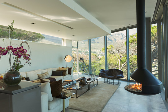 Luxury modern fireplace and home showcase living room