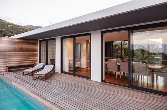 Modern, luxury home showcase exterior patio