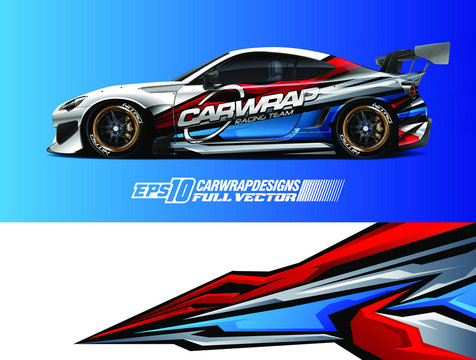Car wrap design vector. Graphic abstract stripe racing background designs for wrap cargo van, race car, pickup truck, adventure vehicle. Eps 10