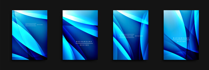 Wave covers set with fluid gradients. Dynamic trendy abstract background with flowing wavy lines. Vector Illustration
