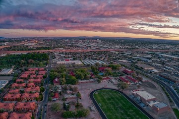Aerial View of Albuquerque, New Mexico at Sunset