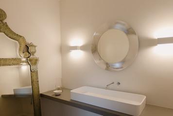 Home showcase interior bathroom sink and mirror