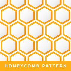 Honeycomb vector seamless pattern. Outline hexagon Vector natural honey background.
